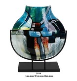 Schmale blau-grüne Deko-Vase auf schwarzem Ständer