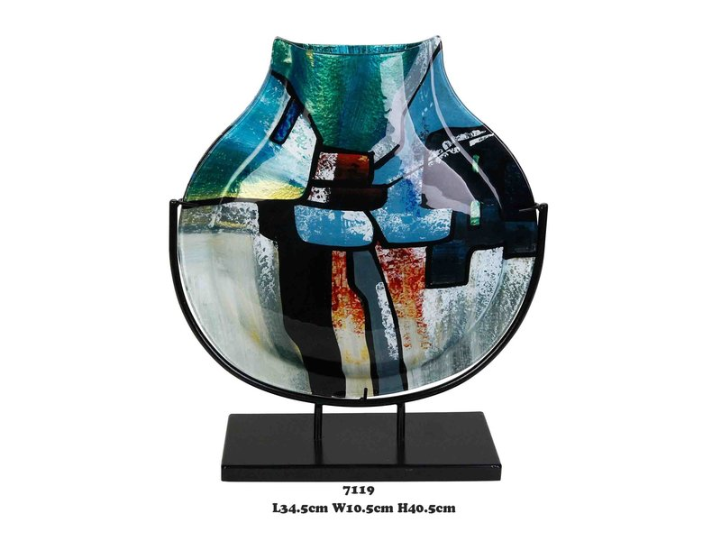 Vaso decorativo stretto blu-verde su supporto nero