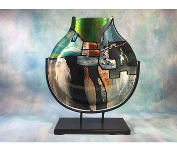 Vase in blue, green, black