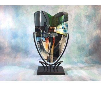 Vase blau-grün , schmal