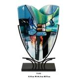 Höhe blau-grüne Vase auf Metallhalter