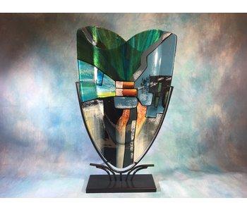 Vase blau-grün, hoch