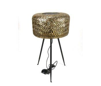 Vloerlamp, gevlochten - brons - M