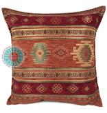 BoHo Bohemian sierkussen van meubelstof Aztec brick oranje - 45 x 45 cm