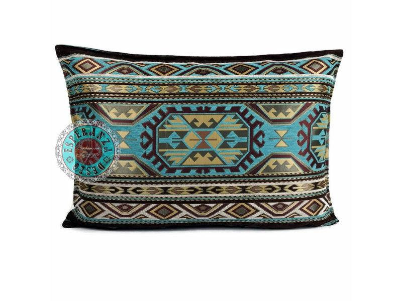 BoHo Sierkussen Maya Turqoise  van meubelstof 50 x 70