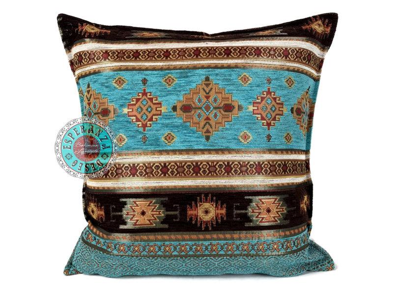 BoHo Sierkussen Little Peru Turqoise van meubelstof 45 x 45 cm