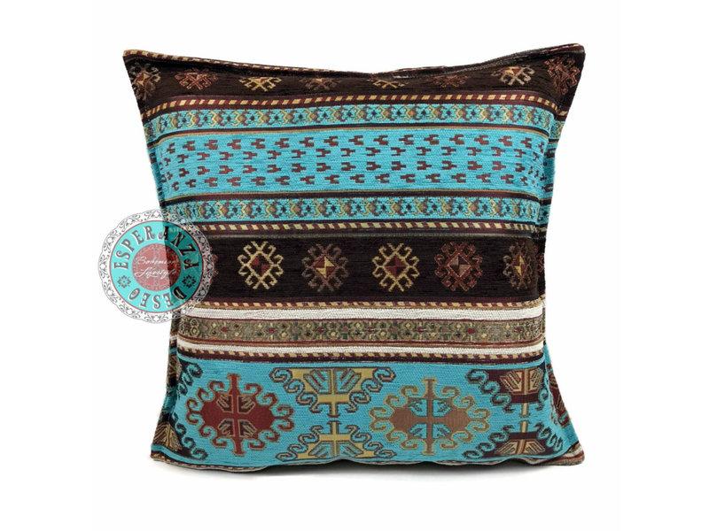BoHo Sierkussen Peru Turqoise van meubelstof 45 x 45 cm
