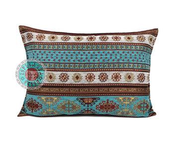 BoHo Bohemian cushion cover Peru Turqoise-white - 50 x 70 cm
