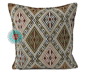 BoHo Bohemian Kelim cushion  light ochre brown and white - 45 x 45