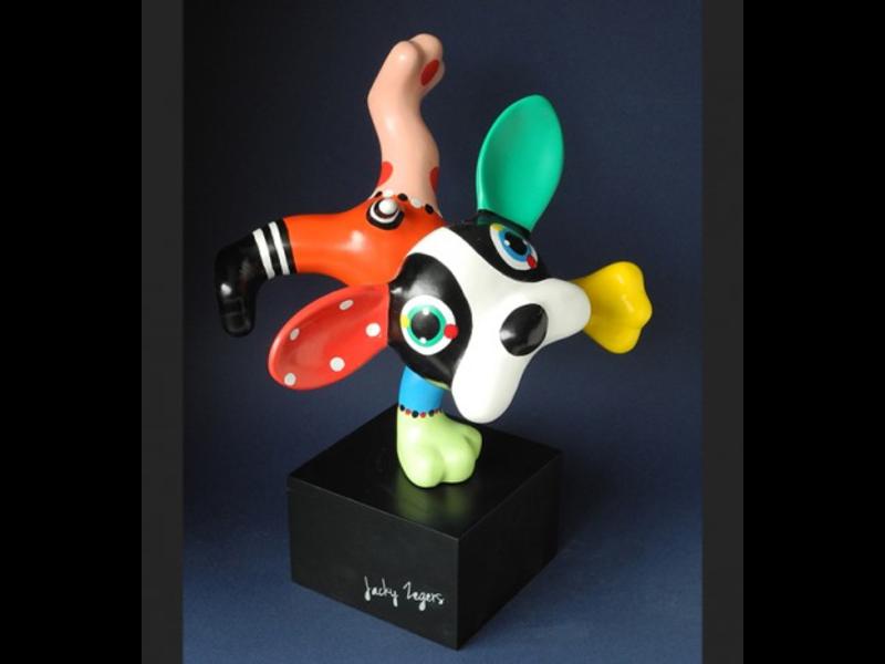 Jacky Art Hond Boris, vrolijk pop-art  dierenbeeldje Jacky Zeegers