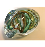 Ozzaro  Glass sculpture Knot in green, red, amber