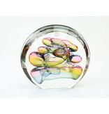 Ozzaro  Glazen kunstobject van Ozzaro, Disc kleurig glasobject