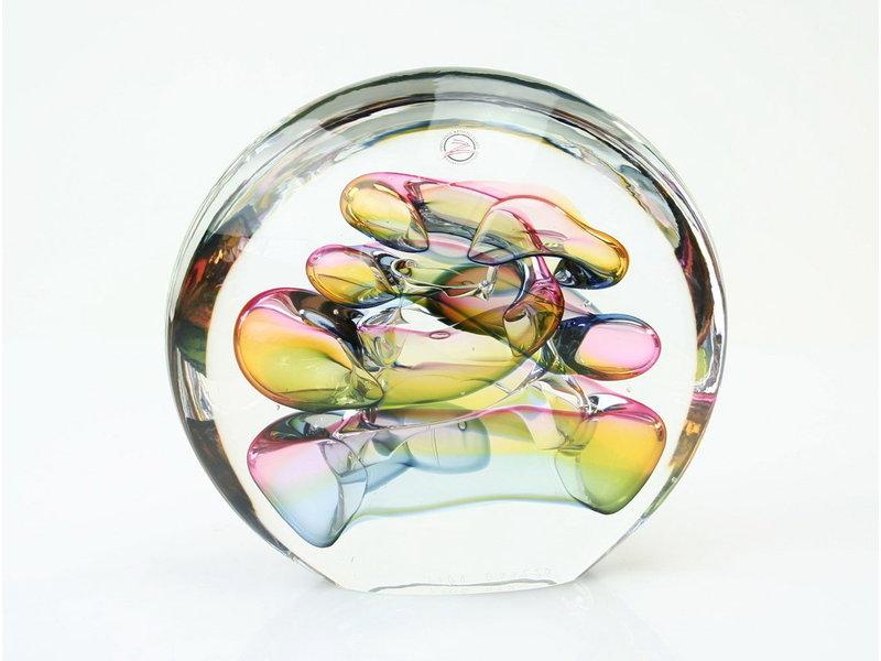 Ozzaro  Glass art object by Ozzaro, Disc - coloured glass object