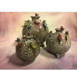 Daan Kromhout Aardewerken, ronde vaas met vogels