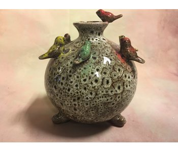 Daan Kromhout Vase with birds, Bird vase Olive