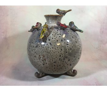 Daan Kromhout Vase mit Vögeln, Vogelvase Beige