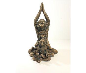 Affen-Trio in  Bronze optik
