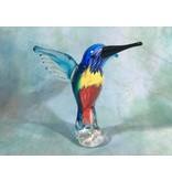 Glass sculpture bird, hummingbird glass sculpture