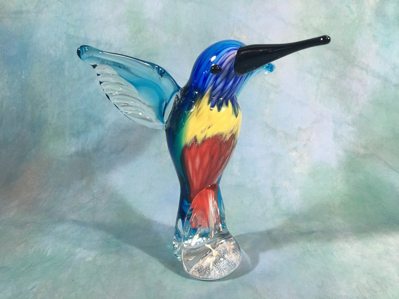 Glasbeeld vogel, kolibrie glassculptuur