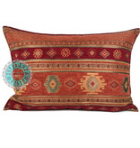 BoHo Bohemian sierkussen van meubelstof Aztec brick oranje 50 x 70