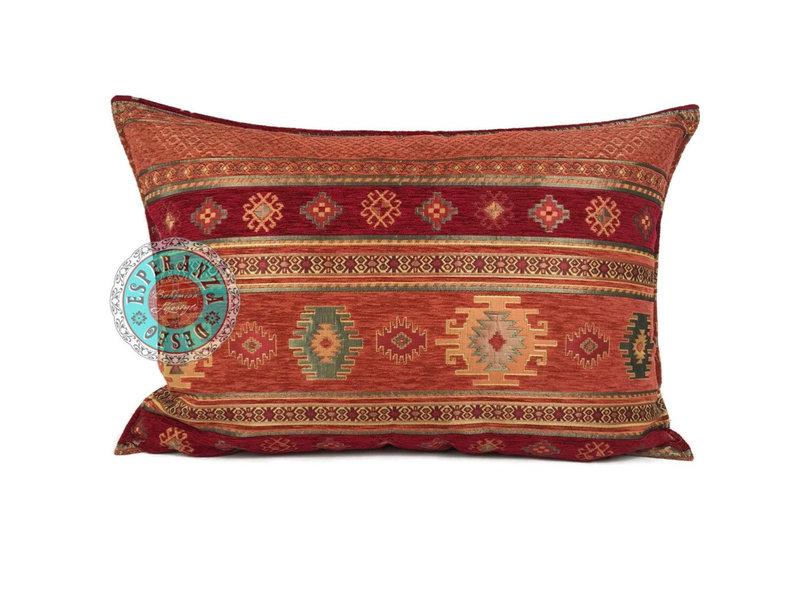 BoHo Decorative cushion made of  furniture fabric Aztec brick  50 x 70