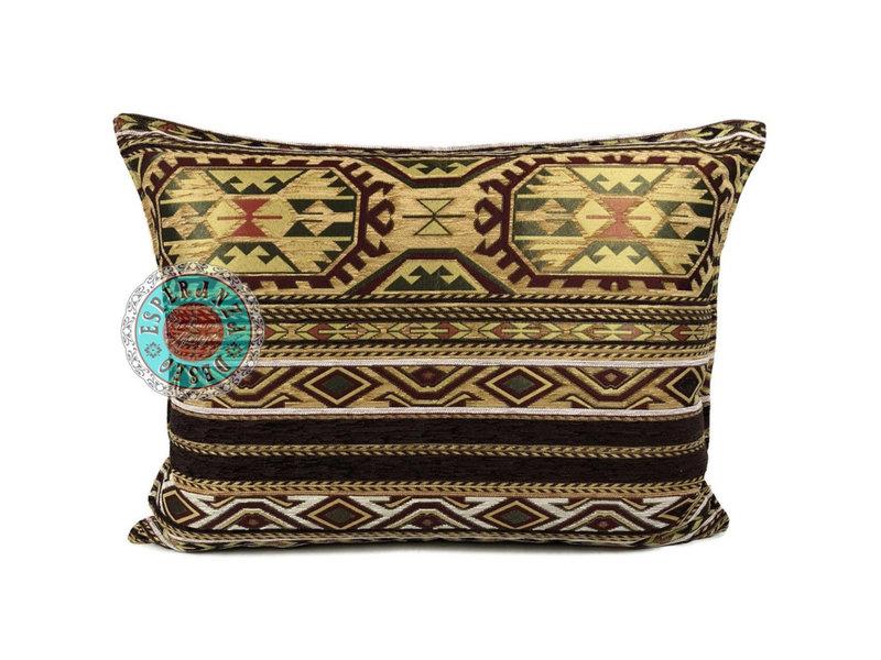 BoHo Ornamental cushion Maya in ochre, yellow and brown 50 x 70 cm