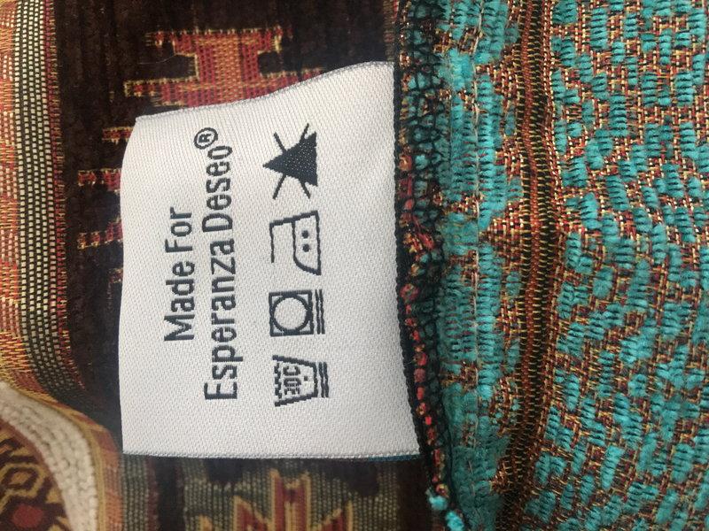 BoHo Decorative cushion Little Peru Turqoise  made of turquoise furniture fabric - 50 x 70 cm