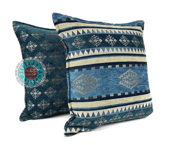 BoHo Cushion cover Set van 2 Medieval  Blue- 45 x 45 cm