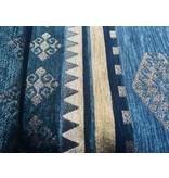 BoHo Kussenhoes van geweven meubelstof - Medieval Blauw-Petrol - 50 x 70 cm