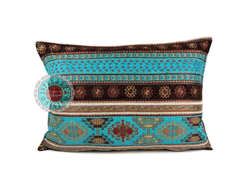 BoHo Decorative cushion Peru Turqoise  made of turquoise furniture fabric - 50 x 70 cm