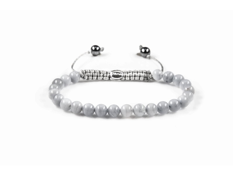 Karma Natuurstenen armband met zilveren trekkoordje Sunny Shades XS