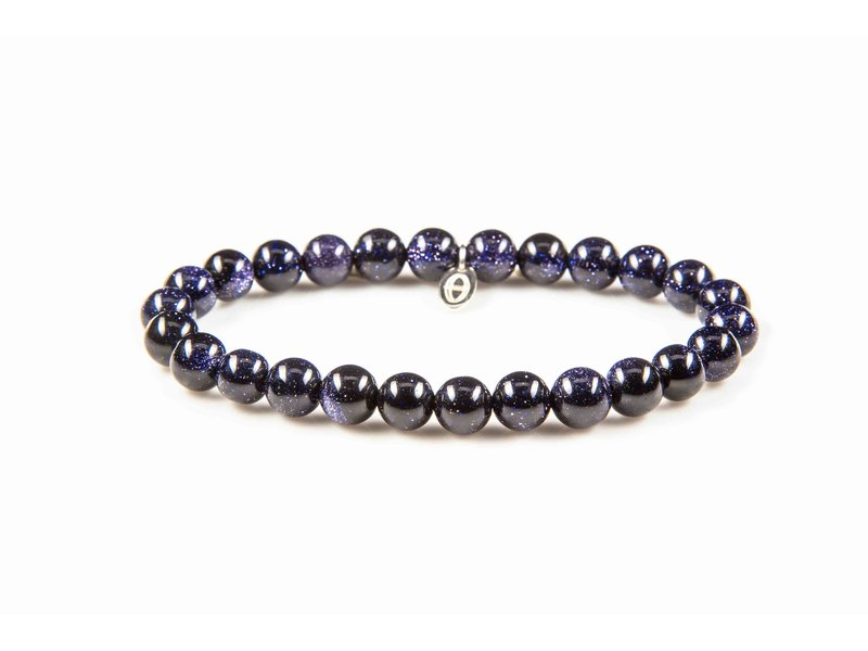 Karma Elastic stretch bracelet with natural stones and silver label