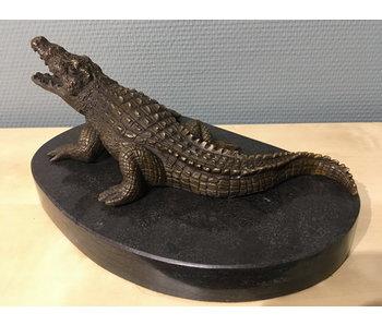 Bronzen krokodil op  natuursteen