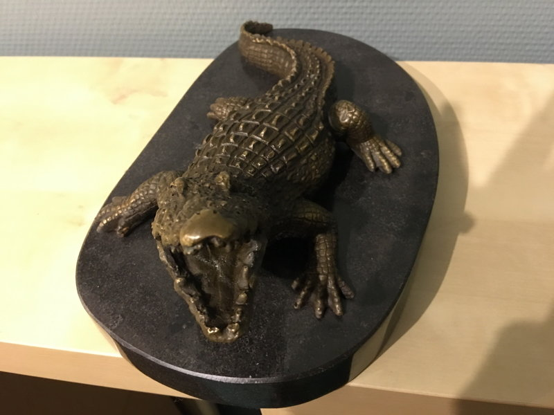 Bronzen krokodil op ovale natuurstenen basis