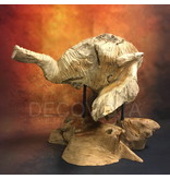 Wood carving from teak - head of an elephant