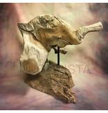 Talla en madera de teca - cabeza de un elefante