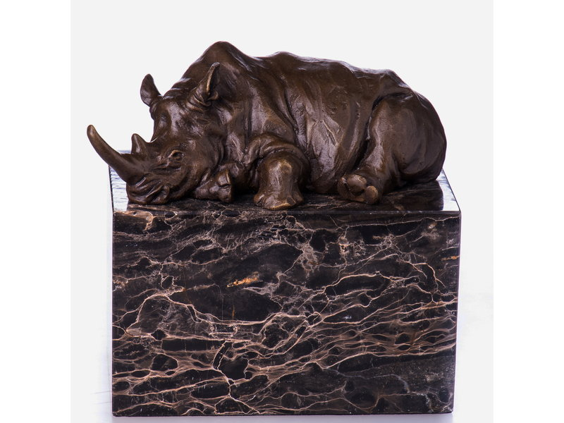 Rhinoceros statue in bronze on a natural stone base