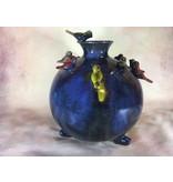 Daan Kromhout Ceramic, round vase with birds