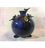 Daan Kromhout Keramik, runde Vase mit Vögeln