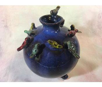 Daan Kromhout Vaas met vogels, Vogeltjesvaas -  donkerblauw