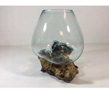 Tazón de vidrio en el muñón