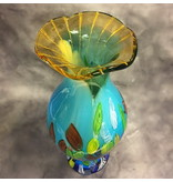 Design vase of turquoise glass and amber neck