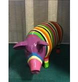 Farbiges Garten Schwein Statue -gestreift