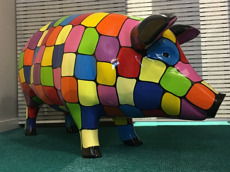 Large and brightly colored polyester pig - weatherproof garden decoration