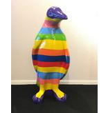 Alegre estatua de pingüino para interiores y exteriores