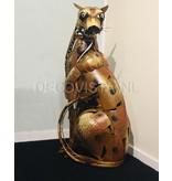 Serengeti Hunter, standbeeld metalen luipaard panter