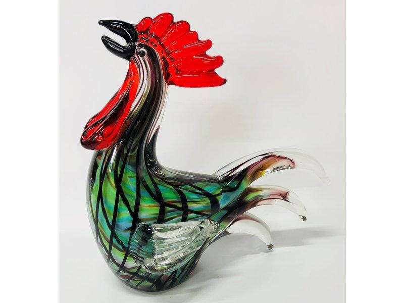 Bontgekleurde haan van glas,, kunstobject
