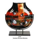 Schmale dekorative Vase in Schwarz mit Rot auf Metallständer