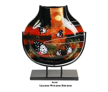 Glass vase, red and black