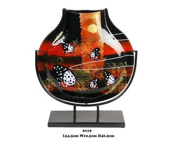 Glazen vaas, rood  en zwart
